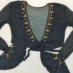 Mirror & Gold Stud Black Tie Front Bolero Blouse